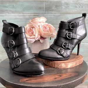 """Coach """"Tessie""""  Black Buckle Heeled Ankle Boot"""